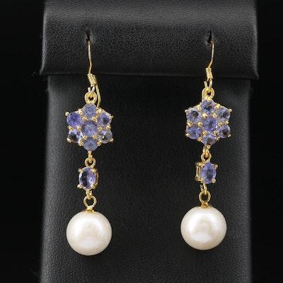 Sterling Pearl and Tanzanite Dangle Earrings