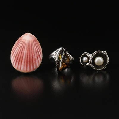 Sterling Rings with Shell, Amber and Pearl