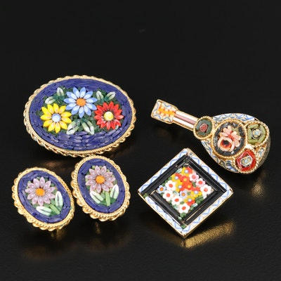 Micromosaic Brooches and Clip Earrings