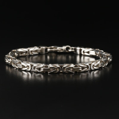 Sterling Silver Squared Byzantine Link Bracelet