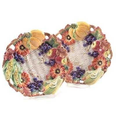 "Fitz and Floyd ""Autumn Bounty"" Ceramic Canape Plates, 1996–1999"