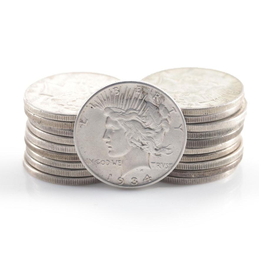 Twenty Peace Silver Dollars Including 1934-S