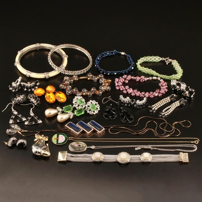 Assorted Jewelry Including Glass, Rhinestone, Faux Pearl and More