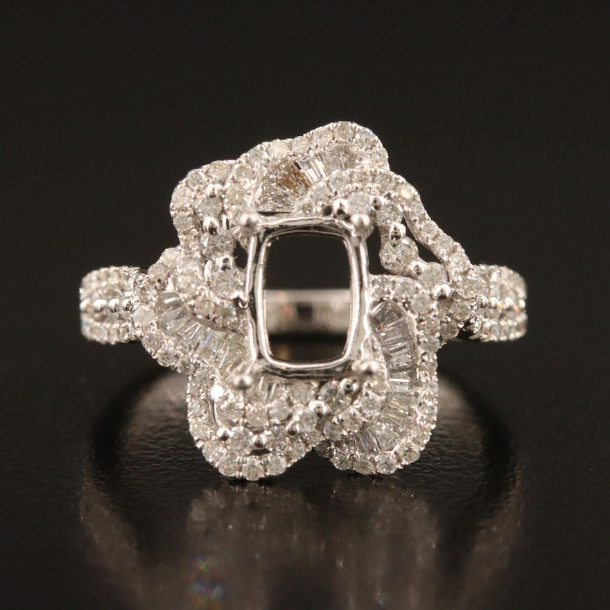 14K 0.95 CTW Diamond Semi-Mount Ring