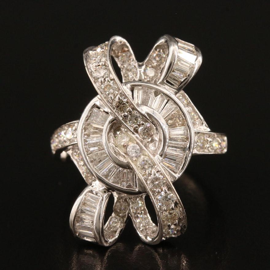 14K 1.60 CTW Diamond Interwoven Ribbon Ring