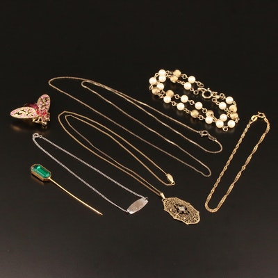 Selection of Jewelry Featuring Rhinestones, Pearl and Diamond