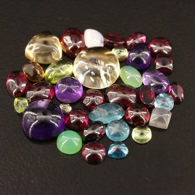 Loose 30.37 CT Gemstone Selection Featuring Citrines, Amethysts and Garnets