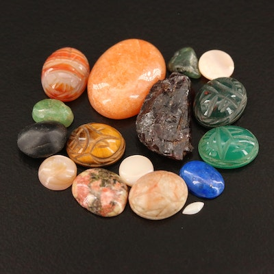 Loose Gemstones Featuring Tiger's Eye, Bloodstone and Agate