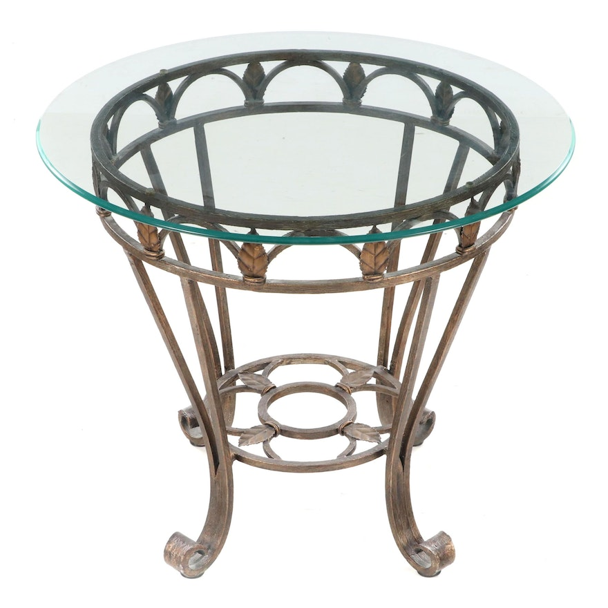 Contemporary Patinated Metal, Foliate-Decorated, and Glass Top Side Table