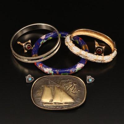 Assorted Jewelry Featuring Swarovski Oval Hinged Bracelet