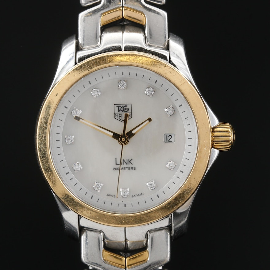 TAG Heuer Link Diamond and MOP Dial 18K Gold and Stainless Steel Wristwatch