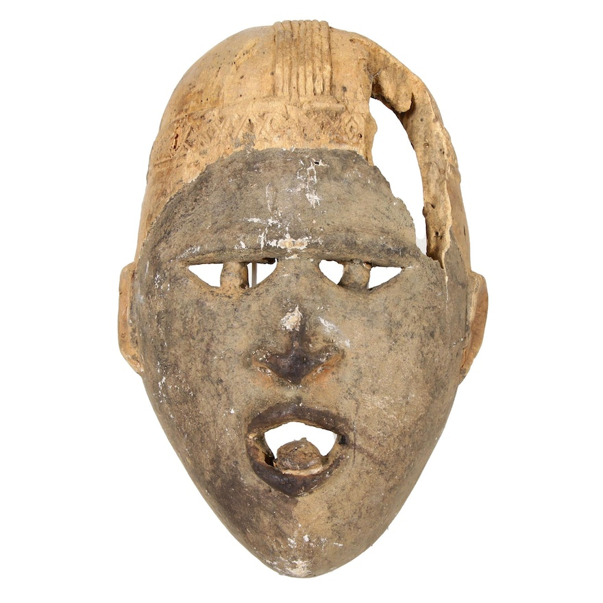 Kongo Style Hand-Carved Wooden Mask, Central Africa