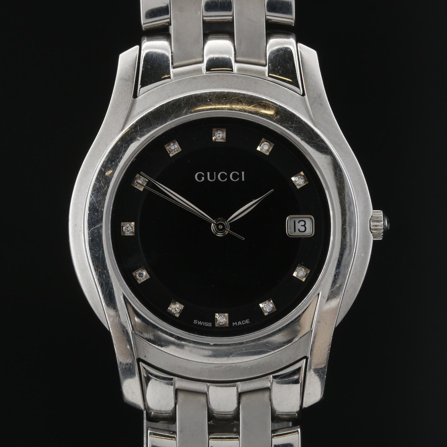 Gucci 5500M Diamond Dial Stainless Steel Quartz Wristwatch