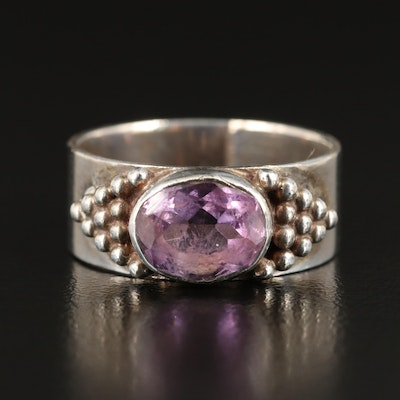 Sterling Silver East-West Set Amethyst Ring