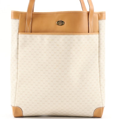 Gucci Micro GG Coated Canvas and Tan Leather Tote