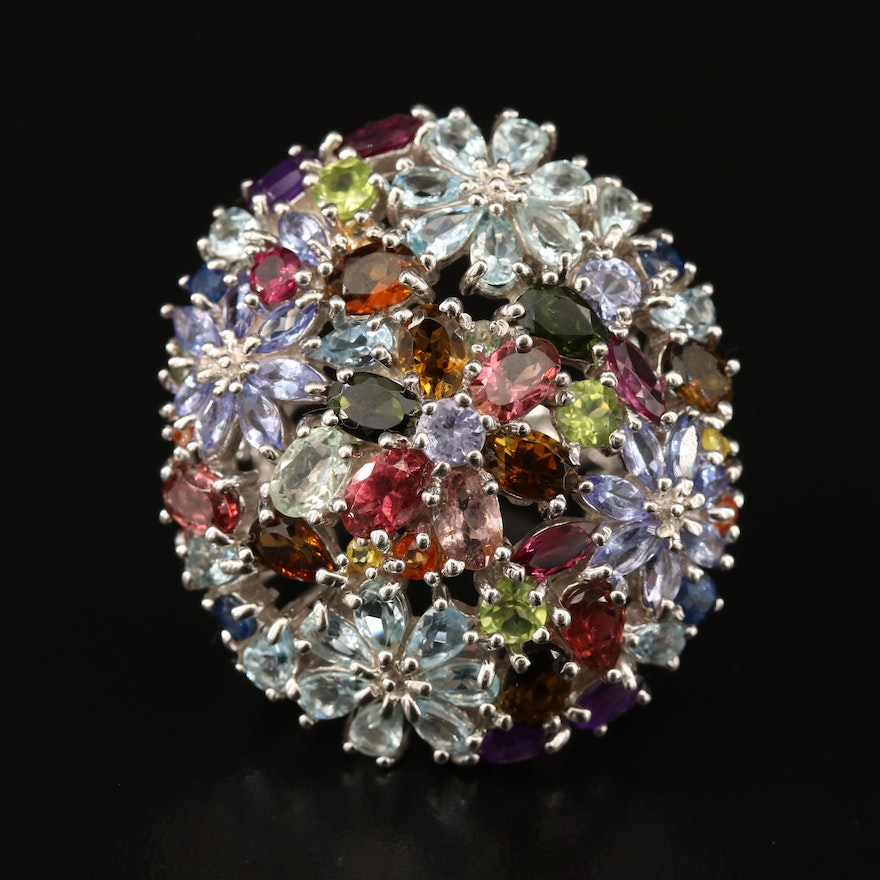 Sterling Floral Cluster Ring with Garnet, Peridot, Tanzanite and Aquamarine