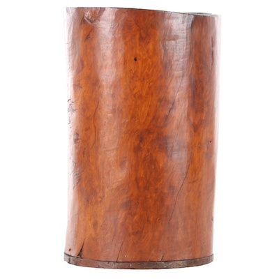 Hollowed Out Tree Trunk Vessel, Possibly Hornbeam, Plank Base, Late 19th C