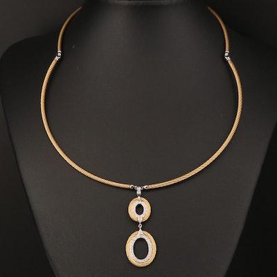 Charriol 18K Diamond Drop Pendant on Steel Cable Style Chain