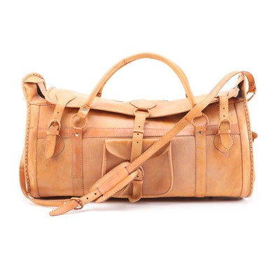 Tan Leather Duffel Travel Bag with Shoulder Strap