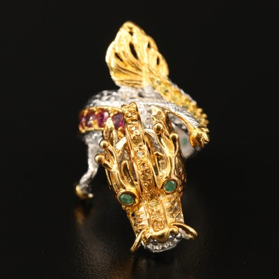 Sterling Garnet, Emerald and Sapphire Dragon Bypass Ring