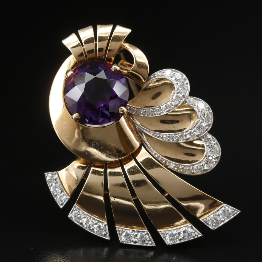 Retro 14K Amethyst and 1.24 CTW Diamond Fur Clip Brooch with Platinum Accents