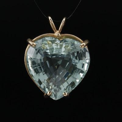 14K 35.40 CT Heart Faceted Beryl Pendant