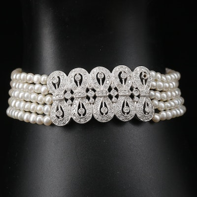 18K 1.00 CTW Diamond and Multi-Strand Pearl Bracelet