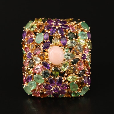 Sterling Silver Multi-Gemstone Cushion Shaped Ring with Floral Motif
