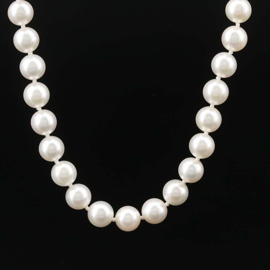 Mikimoto Pearl Necklace with 14K Diamond Accented Clasp