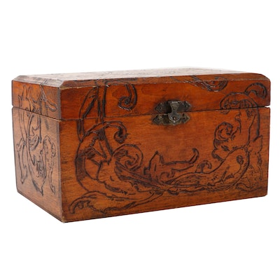 Pyrography Wooden Keepsake Box