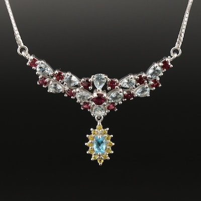 Sterling Silver Topaz, Sapphire and Garnet Stationary Pendant Necklace