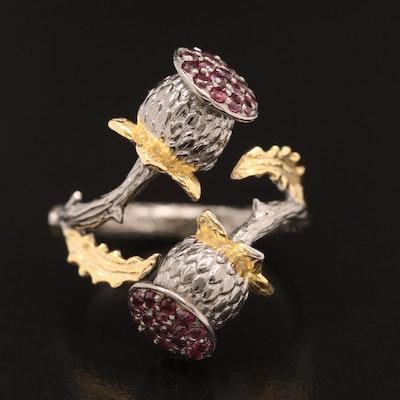 Sterling Garnet Thistle Bypass Ring