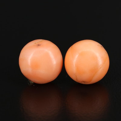 14K Coral Button Earrings