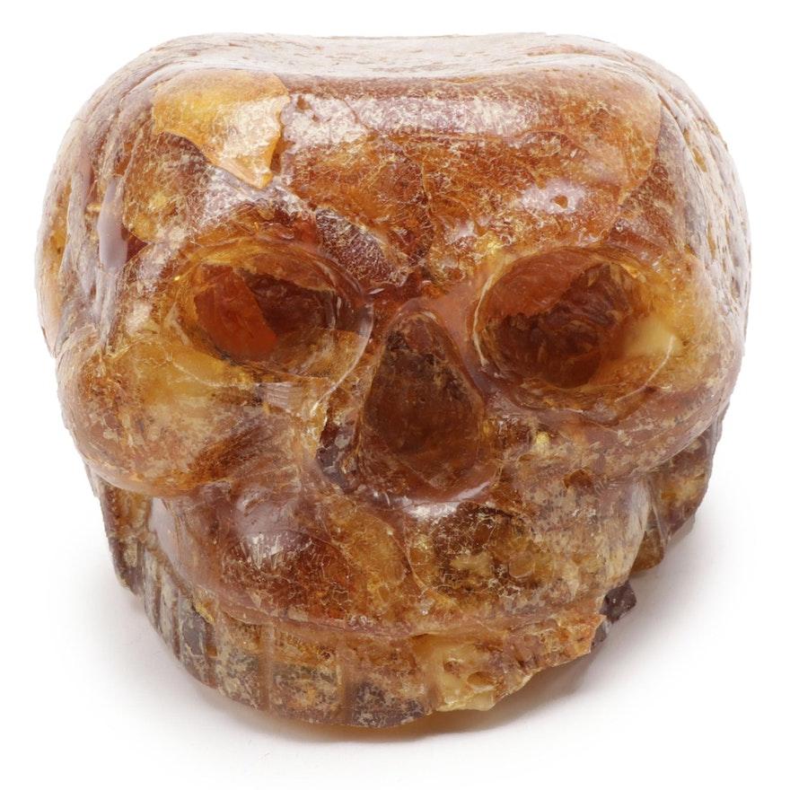 Hand-Carved Amber Skull