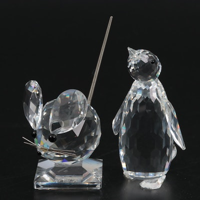 Swarovski Crystal Mouse and Penguin Figurines