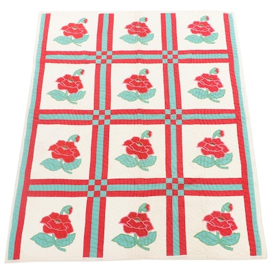 """Handcrafted Appliqué """"Red Poppy"""" Quilt"""