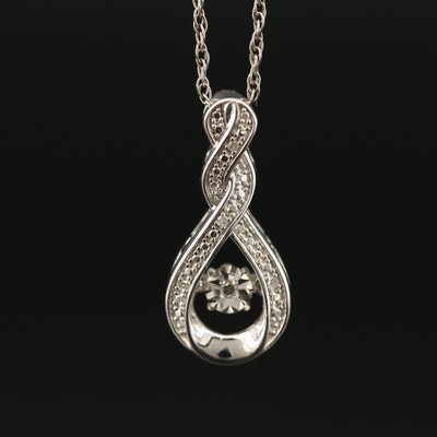 Sterling Silver Diamond Pendant Necklace with Flutter Center