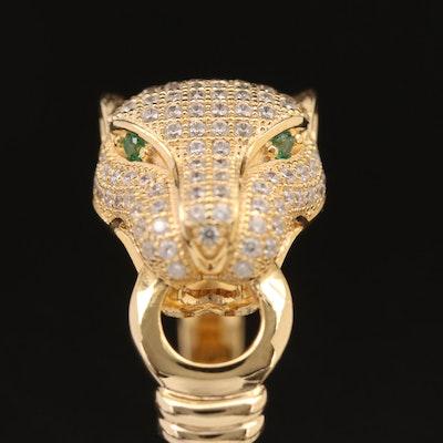 Sterling Silver Cubic Zirconia Jaguar Motif Ring