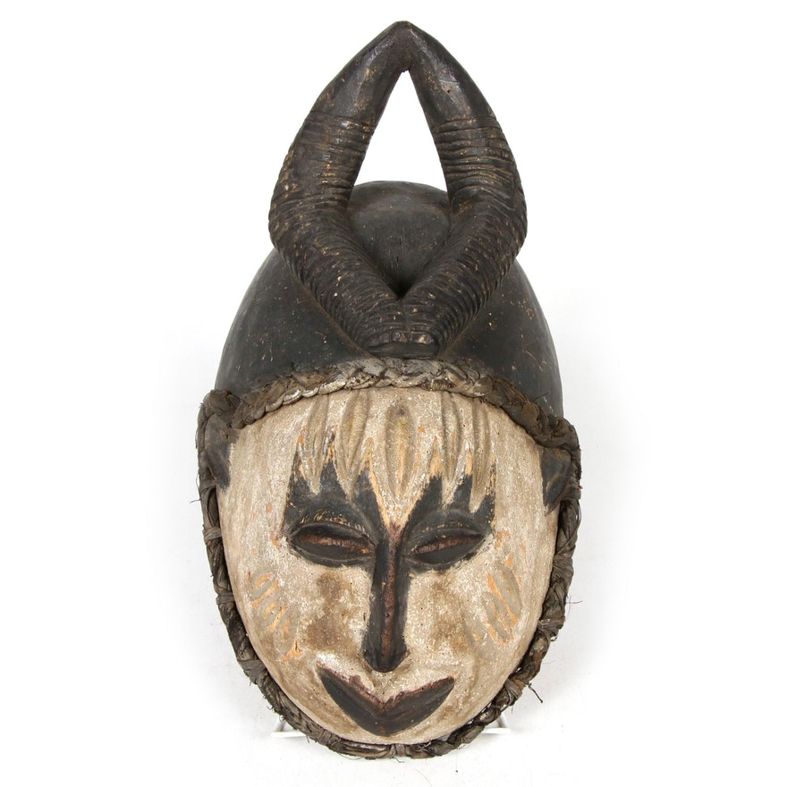 Igbo-Idoma Style Carved Wood Mask with Antelope Crest, Nigeria, Late 20th C.