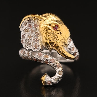 Sterling Silver Sapphire and Garnet Elephant Motif Bypass Ring
