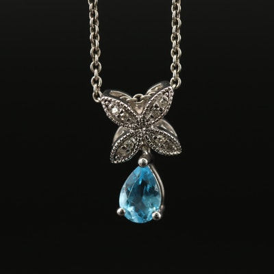 Sterling Silver Topaz and Diamond Pendant Necklace