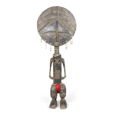 """Asante """"Akua'ba""""-Style Wooden Fertility Doll"""
