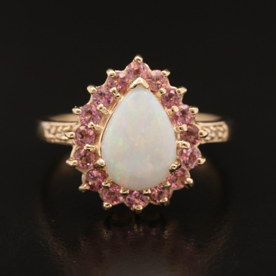 10K Opal, Tourmaline and Diamond Ring