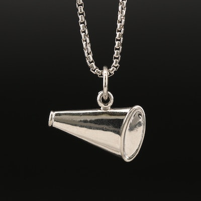Sterling Megaphone Motif Charm Pendant Necklace