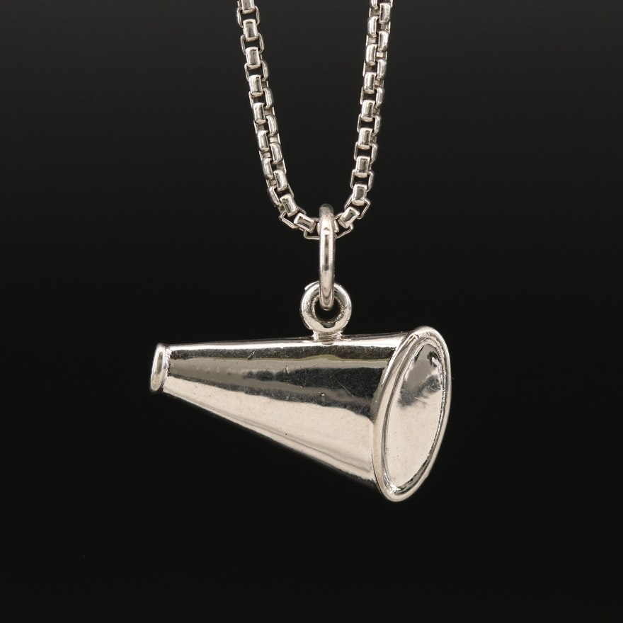 Sterling Megaphone Motif Charm Pendant Necklace