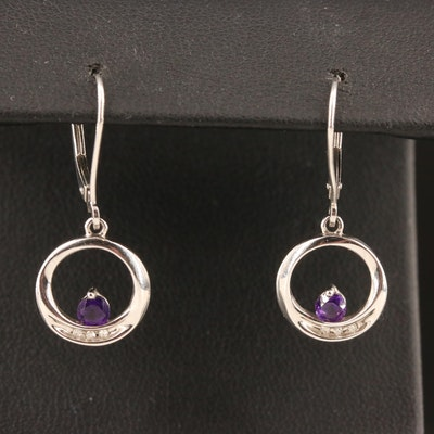 10K Amethyst and Diamond Dangle Earrings