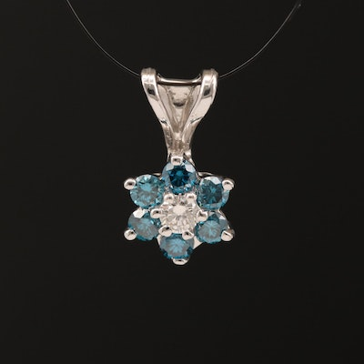 14K Diamond Pendant with Halo of Blue Diamonds
