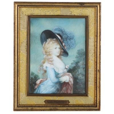 Watercolor Painting after Thomas Gainsborough Portrait of Duchess of Devonshire