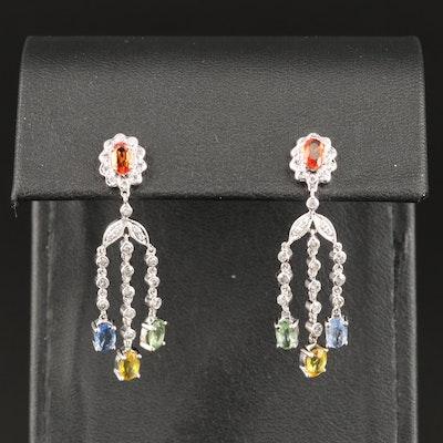 14K Sapphire and Diamond Fringe Earrings