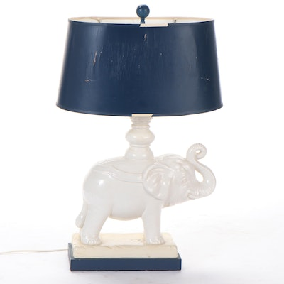 Ceramic Elephant Table Lamp, Mid to Late 20th Century